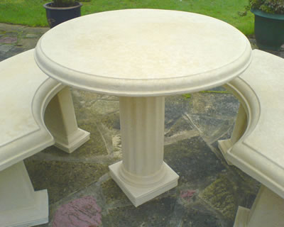Stonecrete Country Table And Bench Set In Cream Stone